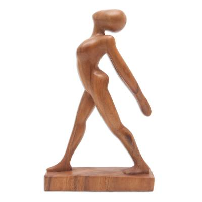 Wood statuette, 'Stretching Pose' - Handmade Stretching Pose Yoga Statuette Brown  Suar Wood