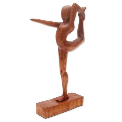 Wood statuette, 'Dandayamana Pose' - Handmade Dandayamana Pose Yoga Statuette Brown  Suar Wood