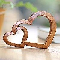 Wood sculpture, 'Warm Hearts' - Wood Hand Made Indonesian Brown Connecting Hearts Sculpture