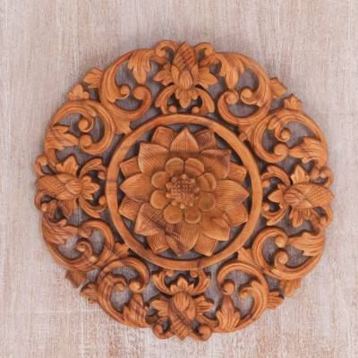 Wood wall relief panel, Peaceful Lily