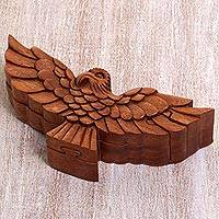 Wood puzzle box, 'Garuda Bird' - Hand Made Wood Puzzle Box of a Bird from Indonesia