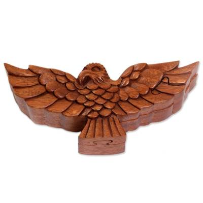 Hand Made Wood Puzzle Box of a Bird from Indonesia