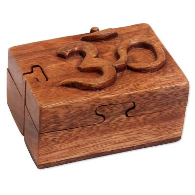 Hand Carved Wood Puzzle Box Om Symbol from Indonesia