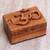 Wood puzzle box, 'Om Protector' - Hand Carved Wood Puzzle Box Om Symbol from Indonesia (image 2b) thumbail