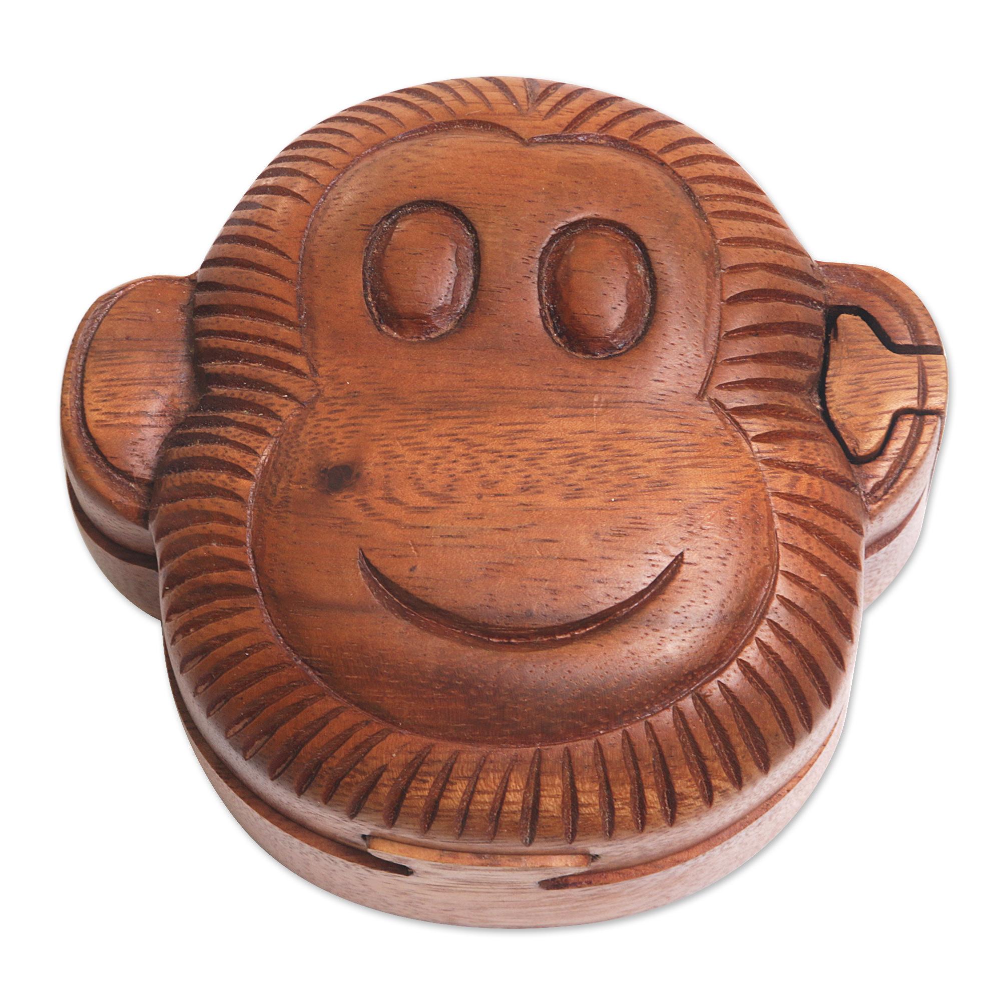 wood puzzle box happy monkey hand made wood puzzle box monkey face - Decorative Box