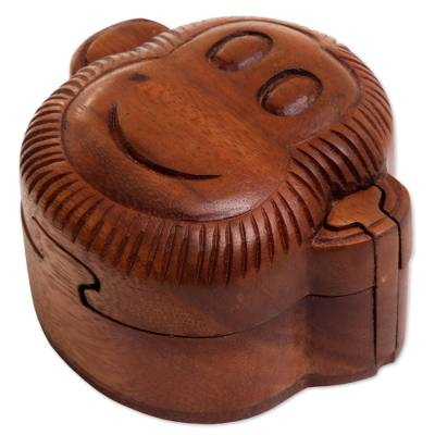 Wood puzzle box, 'Happy Monkey' - Hand Made Wood Puzzle Box Monkey Face from Indonesia