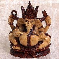 Wood statuette, 'Ganesha's Fortune' - Handcarved Suar Wood Ganesha on Lotus Base Statuette
