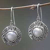 Cultured pearl dangle earrings, 'White Dusk' - Round Cultured Pearl Dangle Earrings Handmade in Indonesia
