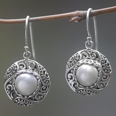 Novica Cultured pearl, blue topaz and peridot dangle earrings, Flying Hearts
