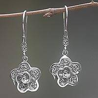 Sterling silver dangle earrings, 'Bold Frangipani' - Sterling Silver Flower Earrings Handmade in Indonesia