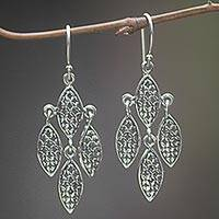 Sterling silver dangle earrings, 'Little Leaves' - Sterling Silver Leaf Dangle Earrings Handmade in Indonesia