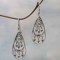 Sterling silver dangle earrings, 'Elegant Teardrops' - Sterling Silver Dangle Earrings Handmade in Indonesia