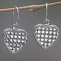 Sterling silver dangle earrings, 'Heart of Steel' - Sterling Silver Heart Dangle Earrings Handmade in Indonesia