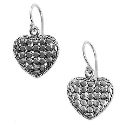 Sterling Silver Heart Dangle Earrings Handmade in Indonesia