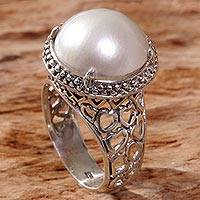 Cultured mabe pearl cocktail ring, 'A Thousand Hearts' - Cultured Mabe Pearl Ring Hand Crafted in Indonesia