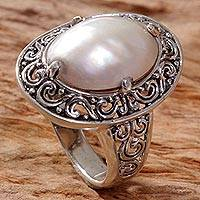 Novica Cultured mabe pearl cocktail ring, Monument of Grace