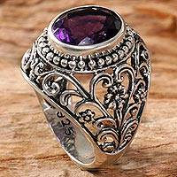 Amethyst cocktail ring, 'Mystical Purple' - Amethyst Cocktail Ring Handcrafted in Indonesia