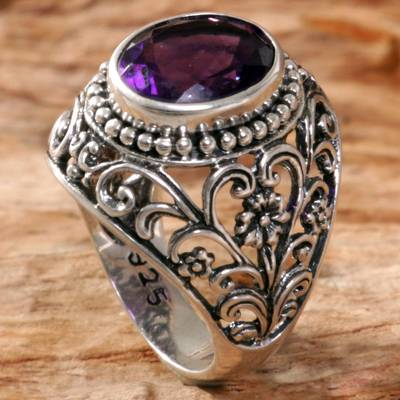 om ring silver men - Amethyst Cocktail Ring Handcrafted in Indonesia