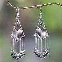 Onyx waterfall earrings, 'Bali Raindrops' - Sterling Silver Onyx Dangle Earrings Handmade in Indonesia