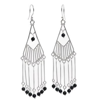Sterling Silver Onyx Dangle Earrings Handmade in Indonesia