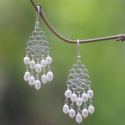Cultured pearl chandelier earrings, Flower Nectar