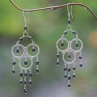 Cultured pearl chandelier earrings, 'Gentle Rainfall' - Sterling Silver and Cultured Pearl Chandelier Earrings