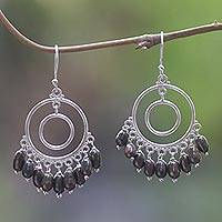 Cultured pearl chandelier earrings, 'Halo Eclipse' - Handmade Cultured Pearl Sterling Silver Chandelier Earrings