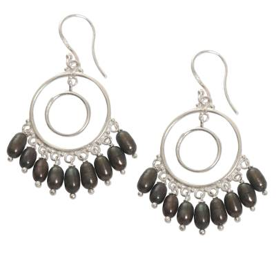 Handmade Cultured Pearl Sterling Silver Chandelier Earrings