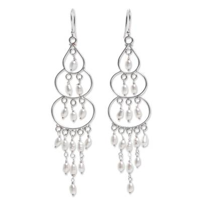 Sterling Silver Cultured Pearl Chandelier Earrings Indonesia