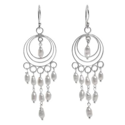 Sterling Silver and Cultured Pearl Chandelier Earrings