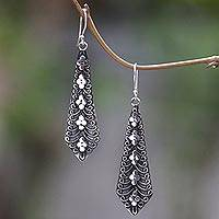 Sterling silver dangle earrings, 'Flower Sword' - Dangling Silver Earrings Adorned With Balinese Motifs