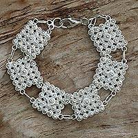Sterling silver link bracelet, 'Glistening Walls' - Hand Made Sterling Silver Link Bracelet from Indonesia