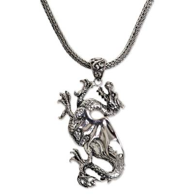 Handmade Indonesian Sterling Silver Pendant Dragon Necklace