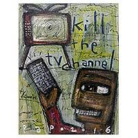 'Kill the TV Channel' - Original Signed Painting TV Evils Cartoon Style from Java