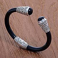 Onyx cuff bracelet, 'Deep Romance' - Onyx Sterling Silver Rubber Cuff Bracelet from Indonesia