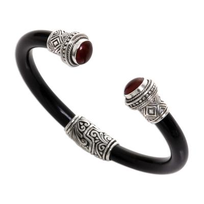 Garnet cuff bracelet, 'Untouched Romance' - Garnet Sterling Silver Rubber Cuff Bracelet from Indonesia