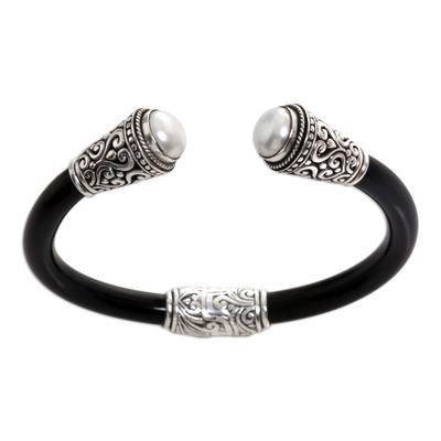 Cultured pearl cuff bracelet, 'Moon Romance' - Cultured Pearl Sterling Silver Cuff Bracelet from Indonesia