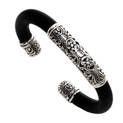 Sterling silver bangle bracelet, 'Untouched' - Sterling Silver and Rubber Bangle Bracelet from Indonesia