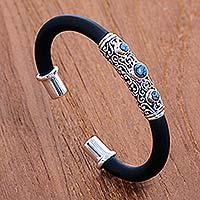 Turquoise cuff bracelet, 'Untouched Blue' - Indonesian Hand Made Turquoise Cuff Bracelet