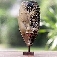 Hibiscus wood mask, 'Bewitched' - Hand Carved Hibiscus Wood Mask with Stand