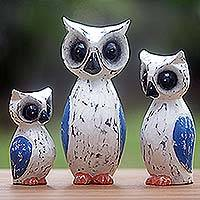 Wood sculptures, 'Wise Family' (set of 3) - Hand Carved Wood Owl Sculptures (Set of 3) from Indonesia
