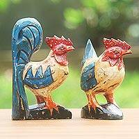 Wood sculptures, 'Chicken Couple' (pair) - Wood Chicken Sculptures Blue Red (Pair) from Indonesia