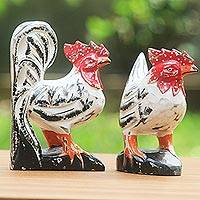 Wood sculptures, 'Chicken Couple in White' (pair) - Wood Chicken Sculptures White Red (Pair) from Indonesia