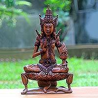 Wood sculpture, 'Agni on Lotus' - Hand Crafted Suar Wood Agni Statuette from Indonesia