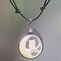 Amethyst and bone pendant necklace, 'Nighttime Owl'