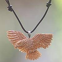 Bone pendant necklace, 'Stoic Eagle'