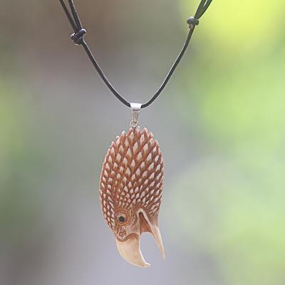 Bone pendant necklace, 'Fierce Eagle' - Hand Made Bone Pendant Necklace Eagle Head from Indonesia