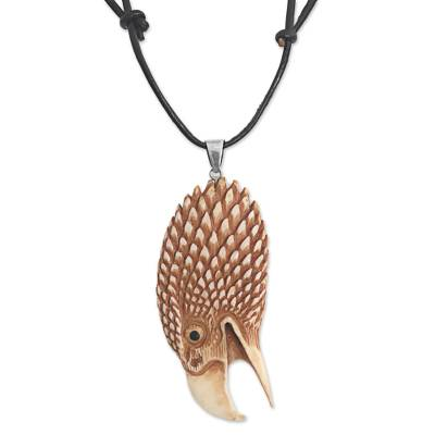 Bone pendant necklace, 'Fierce Eagle' - Hand Made Bone Pendant Necklace Eagle Head from Indonesia