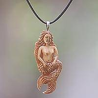 Bone pendant necklace, 'Mellow Mermaid' - Hand Made Bone Pendant Necklace Mermaid from Indonesia