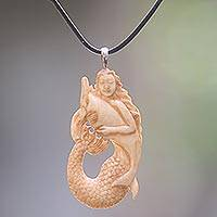 Bone pendant necklace, 'Mermaid and Dolphin'